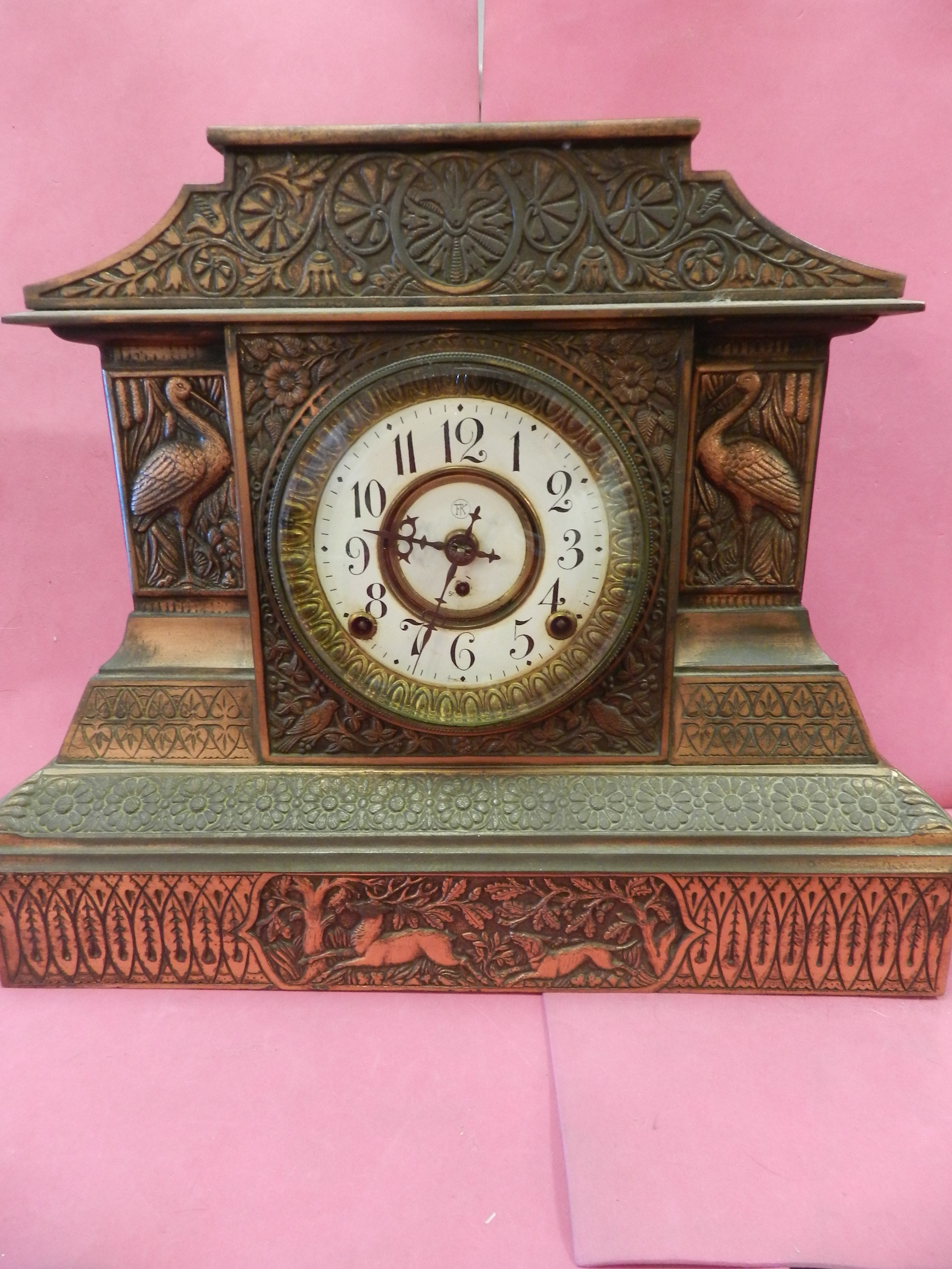 1900's COPPER MANTLE CLOCK