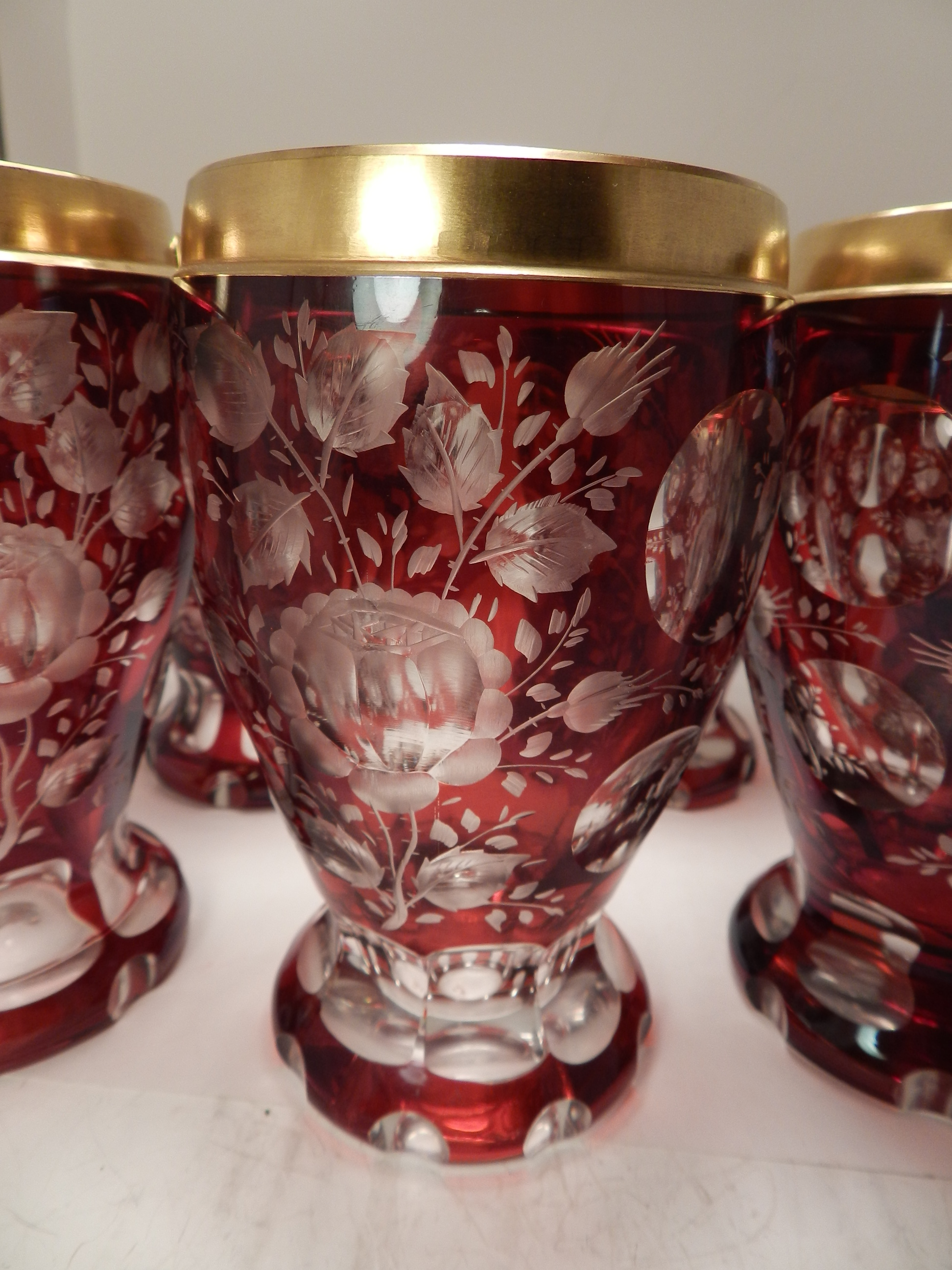 RUBY CUT TO CLEAR TUMBLER SET 6
