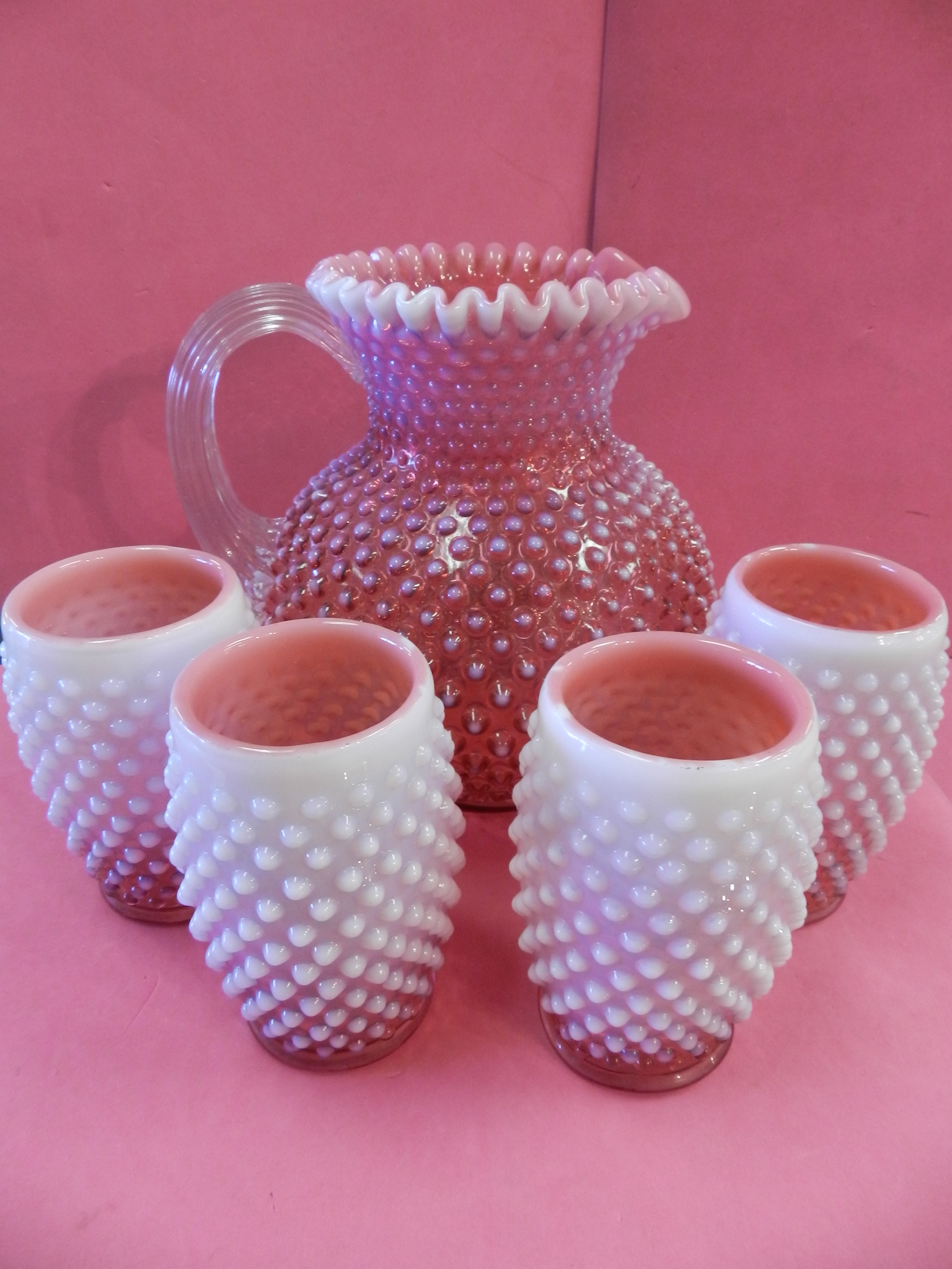 5PC CRANBERRY HOBNAIL PITCHER SET