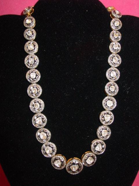 21ct ROSE CUT DIAMOND NECKLACE , 14KT GOLD & STERLING SILVER