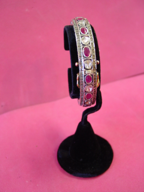 13ctw ROSE CUT DIAMOND & BURMA RUBY BANGLE BRACELET