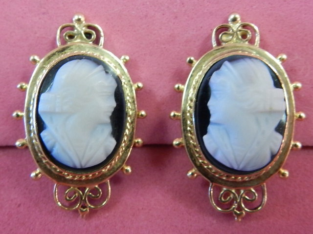 19th CENTURY 14K STONE CAMEO EARRINGS