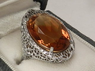 ART DECO GOLDEN TOPAZ RING