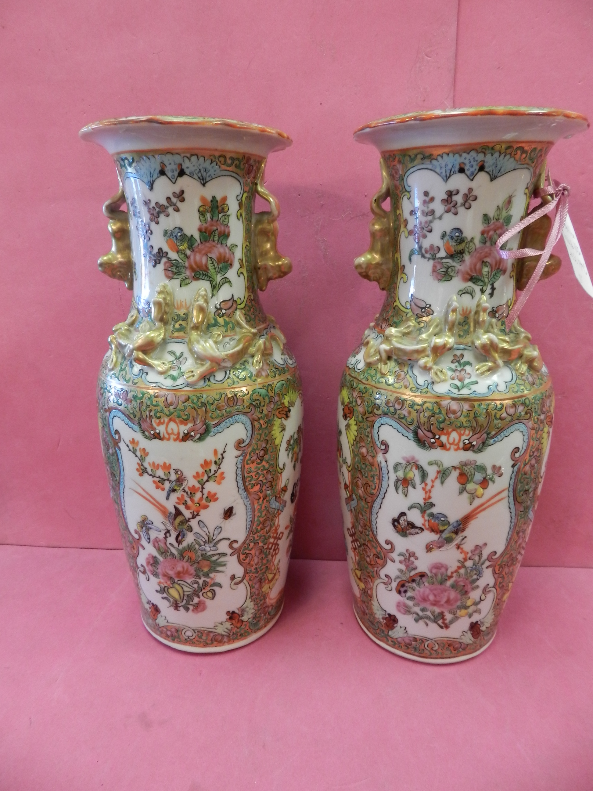 19thC  CHINESE ROSE MEDALLION VASE PR